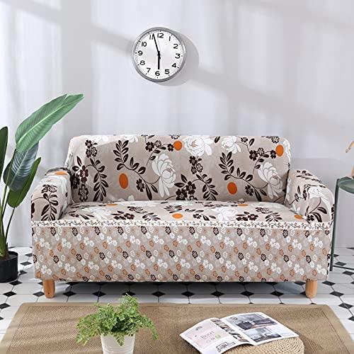 ASCV Funda de sofá de Licra elástica con Estampado de Flores y Hojas con Todo Incluido para Mascotas Funda de sofá de Estilo L Antipolvo A4 4 plazas