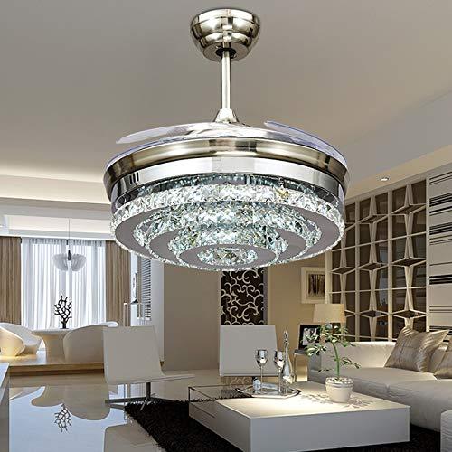 OUPPENG Lámpara de Ventilador Moderno LED Invisible Crystal Techo Fans Con Luces Dormitorio Plegable Fan Light Fan Control Remoto Ventilador De Teto (Blade Color : Nickel)