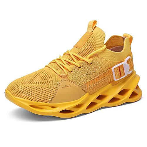 GSLMOLN Herren Laufschuhe Sportschuhe Trainers Sneaker Joggingschuhe Turnschuhe Freizeitschuhe rutschfeste Schuhe Mesh-Schuhe Gelb 43