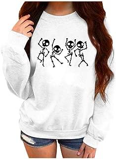 HebeTop Women Halloween Sweatshirt Print Long Sleeve Round Neck Pullover Tops