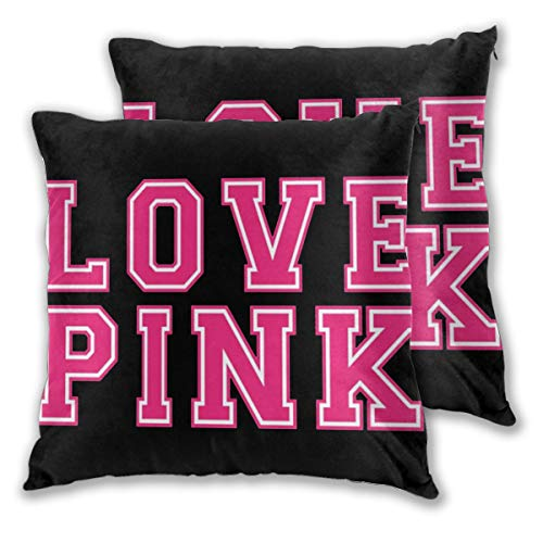 JIETONG Vi-cto-ria Secret Love Pink Pack of 2 Decorative Throw Pillow Covers Square Throw Pillow Cover Cushion Cover Pillowcase