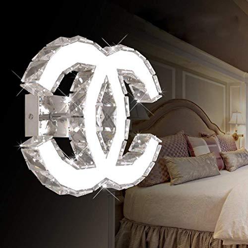LED K9 Kristall Wandlampe Modernes Design Edelstahl Spiegel Wand Kinderzimmer Schlafzimmer Wohnzimmer Korridor Wandbeleuchtung Halbkreis Doppel C Dekorative Wandleuchte L27cm * H21cm,Whitelight