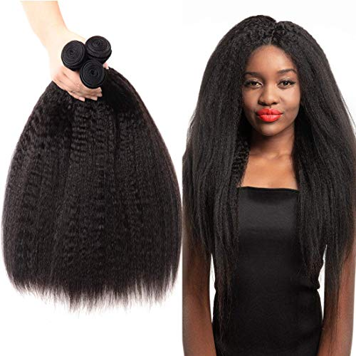 LVY Yaki Hair Brasiliana Kinky Straight Human Hair 3 Bundle Capelli Umani 100% Extension Capelli Veri Totale 300G 8 10 12 Pollice