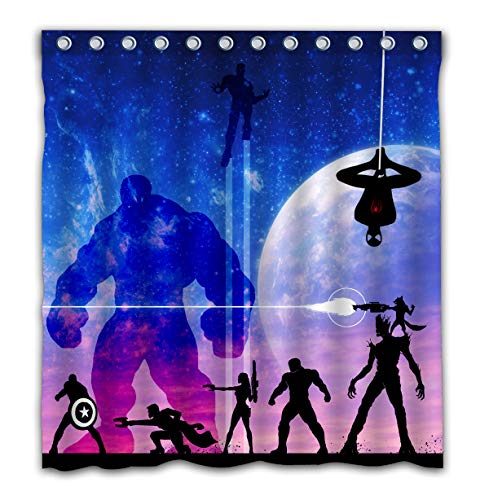 Aoskin Custom Superhero Theme with Color Bathroom Decoration Size of 66x72 Inches