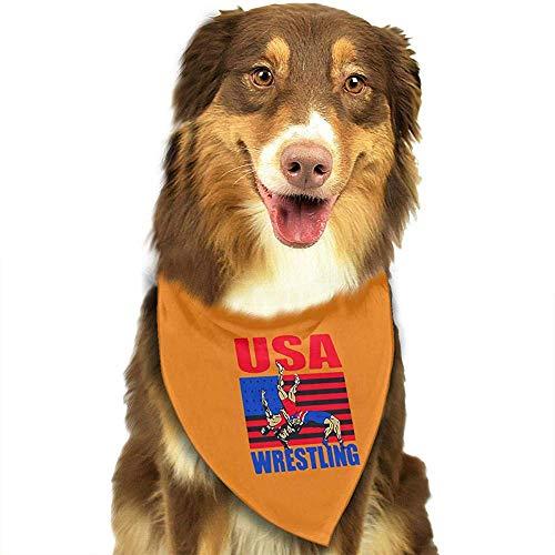 Strawberryran USA Wrestling Dog Cat Bandanas-1pc Waschbares Dreieck Lätzchen Halstücher Schal Halstuch