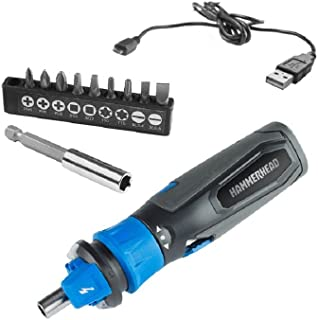 HAMMERHEAD 4V Lithium Rechargeable Screwdriver with Patented Circuit Sensor and 9-Piece Bit Kit with Innovative Bit Grip