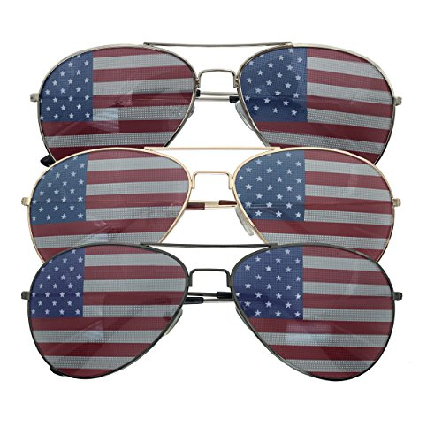 3 Pack Bulk USA America Glasses - American Flag Aviator Sunglasses - Assorted Colors