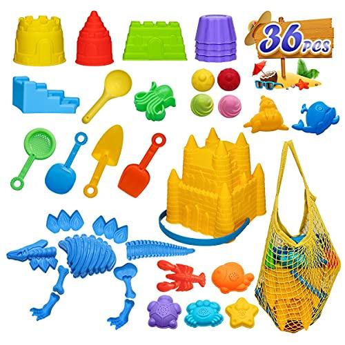 BeneFine Beach Toys, 36 Piece Beach Toys Castle Molds, Ice Cream Mold,Dinosaur Mold,Beach Bucket, Beach Shovel Tool Kit,Fun Outdoor Games Beach Accessories for Toddlers Boys Girls