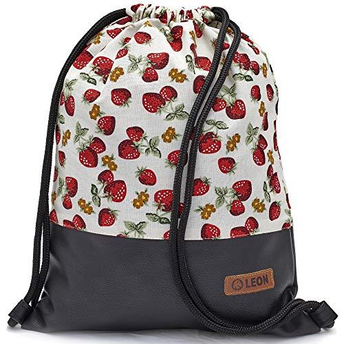By Bers LEON Turnbeutel mit Innentaschen Reißverschluss Rucksack Beutel Tasche Damen Männer & Teenager Gym Bag Draw String (ErdbeerWeiß_swPU)
