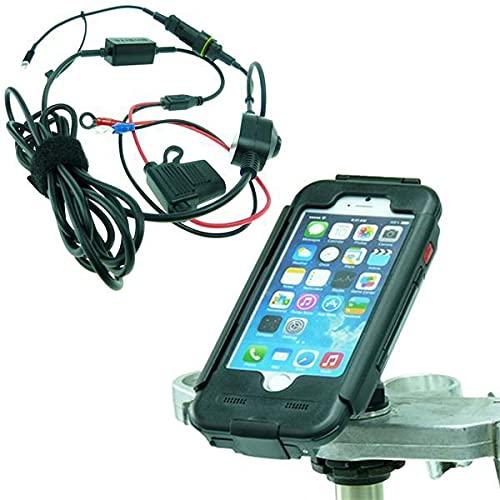 BuyBits High Power Hardwire Yoke 20 Motorrad Passe Mutter Mount Bundle mit Tigra Hülle für iPhone 6S