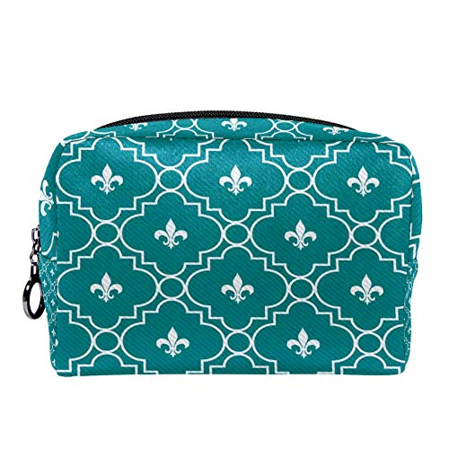 Cosmetic Bag Womens Makeup Bag for Travel to Carry Cosmetics Change Keys etc,White and Dark Teal Fleur