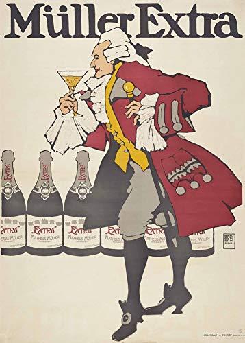 Vintage bieren, wijnen en sterke drank 'Muller Extra', Duitsland, door Hans Rudi Erdt, 1908, 250gsm Zacht-Satijn Laagglans Reproductie A3 Poster