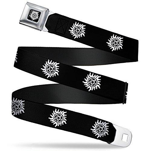 Buckle-Down Seatbelt Belt - Winchester Pentagram Repeat Black/White - 1.5