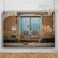 Qinunipoto 写真 撮影 背景布 撮影紙 撮影用 背景 布 撮影用背景 みすぼらしい壁 青い木製のドア ハウス 写真館 無反射布 撮影用道具 撮影背景 写真背景布 写真撮影用 小道具 レトロ背景布 ビニール 2.7x1.8m