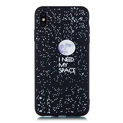 Artfeel Schwarz Weich Silikon Hülle für iPhone XS,iPhone X Hülle,Sternenhimmel Design Handyhülle mit Mond Zitate Muster,Ultra Dünn Flexibel TPU Bumper Kratzfest Zurück Schutzhülle