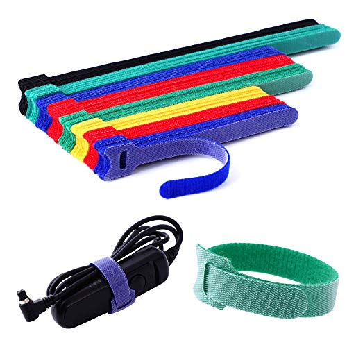 Ainuowei 80 pcs Reusable Fastening Cable Ties 3 Sizes 6/8/10 inch Adjustable Cord Ties Cord Straps Cable Organizer Hook and Loop Ties for Cord Management,5 Colors