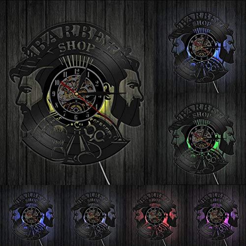 TIANZly Salon de Coiffure Homme Coupe de Cheveux Disque Vinyle Horloge Murale Cadeau à Son Coiffeur Coiffeur Horloge Murale