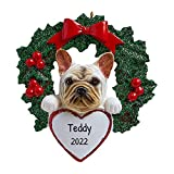 Personalized French Bulldog with Wreath Christmas Tree Ornament 2021 - Fluffy Dog Heart Paw Pure Love Stubborn Lazy Smart Fight Play Fur-Ever New Loyal Cream Tan Family R.I.P. - Free Customization