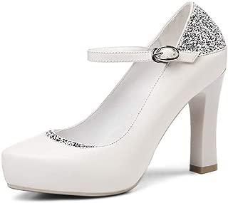 BalaMasa Womens Solid Studded Platform Urethane Pumps Shoes APL11146