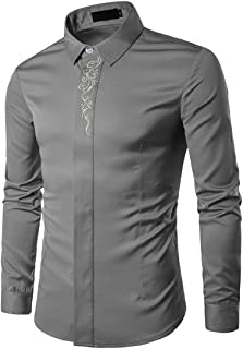 KBUY Men's Dress Shirts Embroidery Long Sleeve Regular Fit Formal Shirts Business Casual Button Wedding Work Party Non Iro...