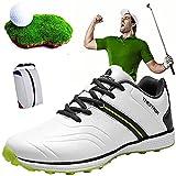 Shhyy Zapatos De Golf Ligeros Impermeables para Hombres-Bolsa De Zapato, Calzado De Golf Large Size Antideslizantes Transpirables para Cancha De Entrenamiento De Golf Shoe,Blanco,12US