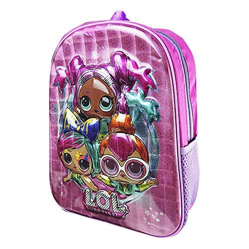 Mochila Niña Rosa con Muñecas LOL en 3D, Mochilas Escolares Juveniles, Bolsa Infantil Guarderia, Accesorios Escolares LOL, Regalos para Niñas