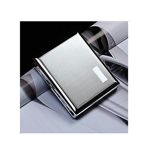LKK-KK Caso de Cigarrillos 20 Palos, Metal del Acero Inoxidable de los Hombres de Cigarrillos Caja, cálido y rollizo (Color: Plata, Tamaño: 9.4 * 8.2 * 1.7cm)