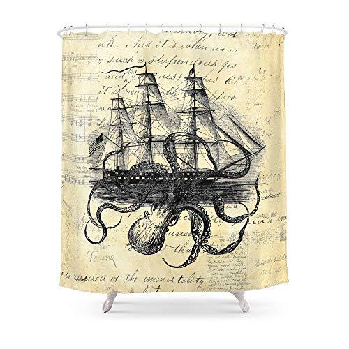 Suminla-Home Badezimmer Kraken Oktopus Attacking Schiff Multi Collage Hintergr& Duschvorhang 182,9cm von 182,9cm