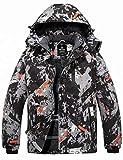 Wantdo Men's Winter Coat Snow Jacket Waterproof Windproof Ski Fleece Raincoat Grey Flora L