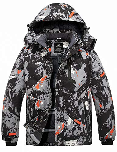 Wantdo Men's Mountain Snow Waterproof Ski Jacket Detachable Hood Grey Flora XL