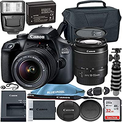 Canon EOS 4000D w/EF-S 18-55mm f/3.5-5.6 III Lens with Professional Accessory Bundle - Includes: 32GB SD Card, Spare LPE10 Battery, Slave Flash, Large Camera Case & Much More from Blue Pixel