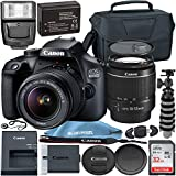Canon eos 4000d w/ef-s 18-55mm f/3. 5-5. 6 iii lens with professional accessory bundle - includes: 32gb sd card, spare lpe10 battery, slave flash, large camera case & much more