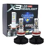 X3 LED バルブ Lumleds LUXEON ZESチップス採用ヘッドライト フォグランプ 50W 6000LmX2 3000k/6500K/8000k イエロー ブルー ホワイト (H11)