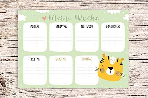 Meine Woche grün mit Tiger Motiv - Block A5 Wochenkalender Planer Kinder Wochenplaner