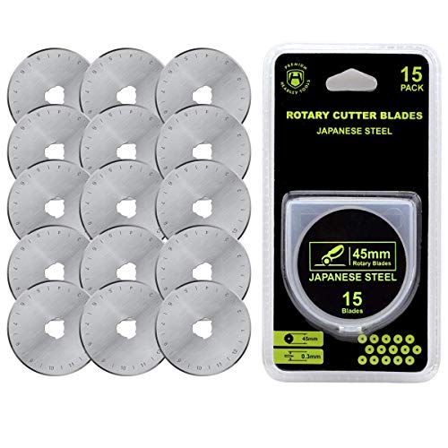 HEADLEY TOOLS 45mm Rotary Cutter Blades 15 Pack Fits Olfa, Fiskars, Replacement Rotary Blade for Arts Crafts Quilting Scrapbooking Sewing, Sharp and Durable