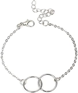xingqiong Infinity Endless Bracelet Hollow Circle Interlocking Round 8 Bracelet Bangle Mother Daughter Friendship Couples Bracelet for Women Bridal Jewelry