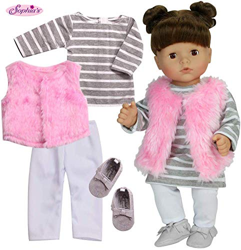 Sophias 4 Pc Doll Clothes 15 Baby Doll Outfit w/ Stripe T-Shirt Dress, Pink Shaggy Vest, White Leggings Set, Vest & Gray Suede Moccasins Baby Doll Shoes |4 Pc Set for Baby Doll |Doll Not Included