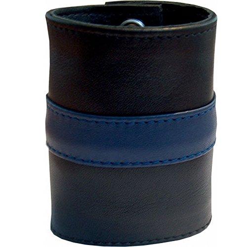 Mister B. 411315 - Lederarmband Geldbörse  mit blauem Streifen - Gr. XL - 8.5 cm breit - 25 cm lang, schwarz