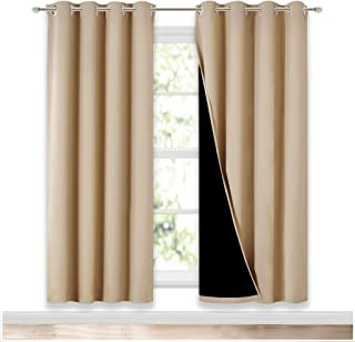 NICETOWN Living Room Completely Shaded Draperies, Privacy Protection & Noise Reducing Ring Top Drapes, Black Lined Insulat...