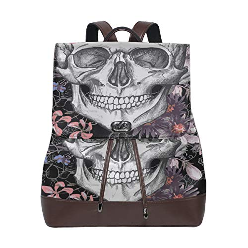 Skull And Flowers Day Of The Dead Vintage Vector Backpack Pu Leather Soft Leather Backpack Drawstring Waterproof Fashion Travel Bag Pu Leather Backpack Purse