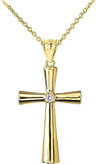 Solid 14k Yellow Gold Simple Diamond Religious Cross Pendant Necklace