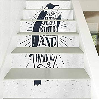 Stair Sticker Decals 3D Creative Wallpaper Quote Penguin Waving His Flipper and Just Smile and Wave Te for Stair Riser Decals Home Decor W39.3 x H7.08 Inch x6PCS