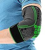 COLOMAX Hochwertige Ellenbogenbandage Ellenbogenstütze Sport Bandage Fitness (Grün, L) -