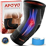 Elbow Brace For Tendonitis, Compression Sleeve, Athletic Elbow Support, Basketball, Weightlifting, & More, With Adjustable Strap & Bonus Elastic Therapeutic Tape, Great for Workouts & Sports, Medium
