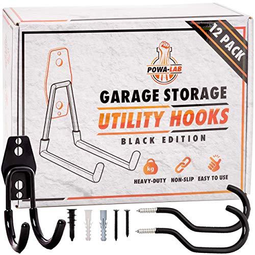 12 Piece Set Steel Garage Storage Hooks with Bike Hooks for Garage Organization - Utility Heavy Duty Hooks for Organizing Power Tools, Ladders, Bikes, Bulk Items - Tool Hangers for Wall - Powa-Lab