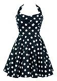 Ixia Polka Dot A-line 50s Pinup Dress-Black-Small