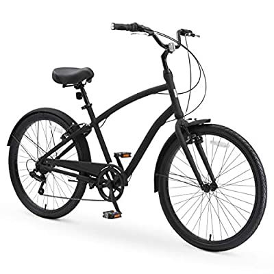 """sixthreezero EVRYjourney Casual Edition Men's 7-Speed Sport Hybrid Cruiser Bicycle, 26"""""""" Bicycle, Matte Black with Black Seat and Black Grips, one Size"""