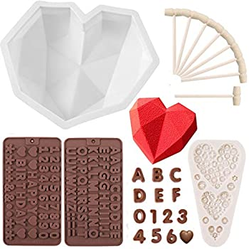 HSJL Heart Shaped Mold for Chocolate Set - Breakable Heart Mold with 8Pcs Wooden Hammers Number and Letter Mold Heart Button Fondant Mold Perfect for Birthday Valentine Candy Chocolate Making