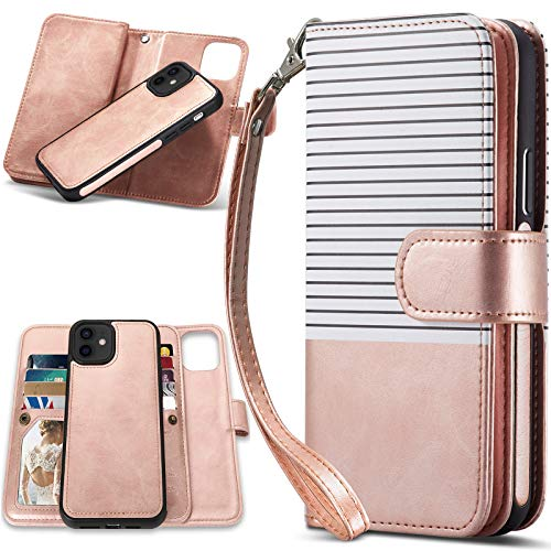 CASEOWL Wallet Case Compatible for iPhone 12/12 Pro, Magnetic Detachable 2 in 1 Folio Leather Wallet Case with 9 Card Slots,Hand Strap,Compatible for iPhone 12/12 Pro 6.1 inch 2020 (White&Rose Gold)