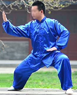 Tai Chi Suit (Jacket & Pants) - Satin - Blue, Yellow and Pink